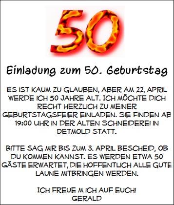 Einladung zum 50. Geburtstag als Karte zum Ausdrucken