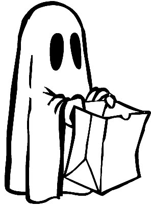 Halloween Geist oder Gespenst Malvorlage kostenlos