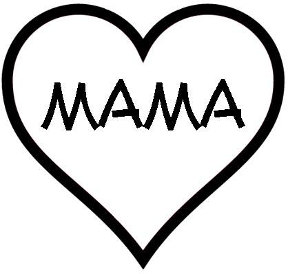 Herz mit Mama als Malvorlage - Muttertagsherz