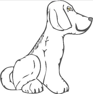 Sitzender Hund Von Der Seite Als Malvorlage