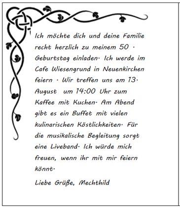 Vordruck Einladungskarte zum 50. Geburtstag