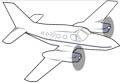 Ausmalbild zweimotoriges Flugzeug