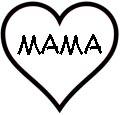 Herz mit Mama als Malvorlage