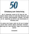 Vorlage f�r eine Einladung zum 50. Geburtstag