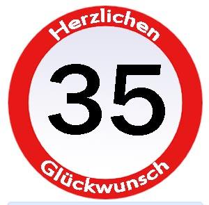 Schild 35. Geburtstag
