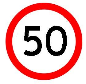 Verkehrsschild 50. Geburtstag
