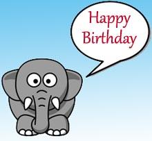 Elefant sagt herzlich Glückwunsch